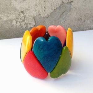 Mujus Tagua Nut Multicolor Heart Stretchy Bracelet